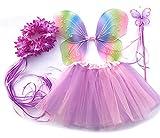 Tante Tina Schmetterling Kostüm Mädchen - 4-teiliges Mädchen Kostüm Schmetterling mit Tüllrock , Flügel , Zauberstab und Haarreif - Mehrfarbig - geeignet für Kinder von 2 bis 8 Jahren