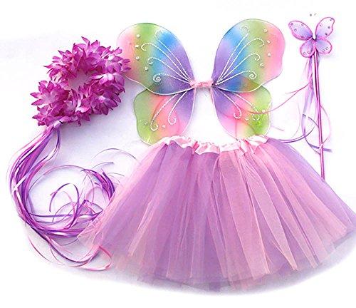 Tante Tina Costume Farfalla per Bambina - Vestito Farfalla da Bimba in 4 Pezzi, Quali Gonna in Tulle, Ali, Bacchetta e Cerchietto - Arcobaleno - Indicato per i Bambini da 2 a 8 Anni