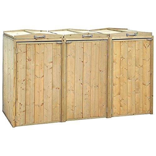 Charles Bentley Premium FSC Spruce Triple Bin Store Wheelie Bin Storage Unit