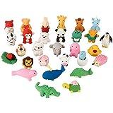 ThinkMax Animal y Gomas de borrar Comida, Lindo Goma Gomas de borrar lápiz, Colorido del Partido del Favor de los niños Bolsa Rellenos (30 Piezas Animal)