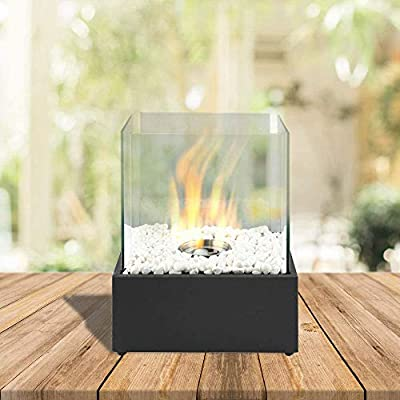 Bio Ethanol Fireplace Indoor Outdoor Camping Glass Top Burner Fire Square