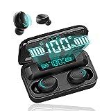 Écouteur Bluetooth,Écouteurs sans Fil Bluetooth 5.0,Auriculaire Oreillette Mic Sport Casque avec 2800 mAh LED Étui de Charge Portable,Touch-Control,pour iphone Android Samsung