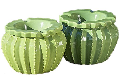 Home Collection - Muebles, decoración - Set de 2 ceniceros - Patrón: Cactus - Estilo: Moderno, Mediterráneo - Material: cerámica - Color: Verde - H 9 cm/Ø 12 cm