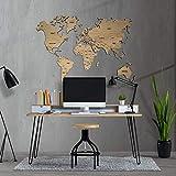 Mapamundi decorativo de madera, personalizable color y tamaño con nombres de países...