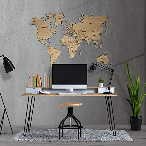 Mapamundi decorativo de madera, personalizable color y tamaño con nombres de países grabados Mapa del mundo para pared • 100x60cm | 160x100cm | 200x120 cm Envío Peninsular Gratis