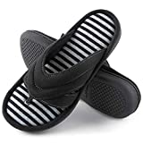 ZIZOR Women' s Memory Foam Flip Flop Slippers, Ladies' Summer Spa Thong Slippers with Suede Upper, Female Slip On House Shoes for Indoor Outdoor (Black, 6.5-7.5)