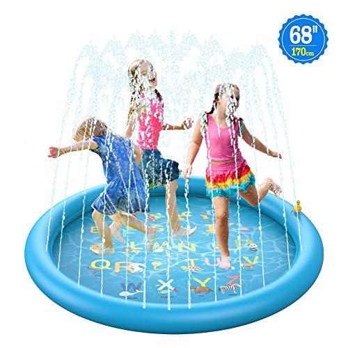 BOIROS Splash Pad,Almohadilla de Aspersión de 170 cm,Salpicaduras y PVC Salpica Almohadilla,Jardín de Verano Juguete para Niños,Aire Libre Fiesta Playa Jardín (Amarrillo - Azul)