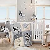 Lambs & Ivy Mickey Mouse 4Piece Crib Bedding Set, Gray