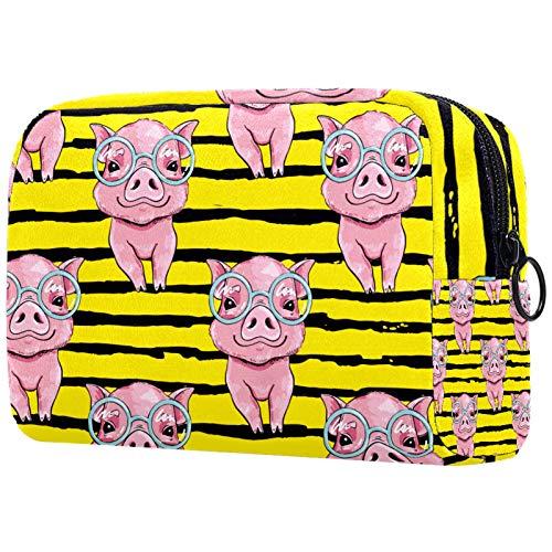 AITAI Bolsa de maquillaje grande para viaje, organizador de cosméticos, gafas de cerdo rosa