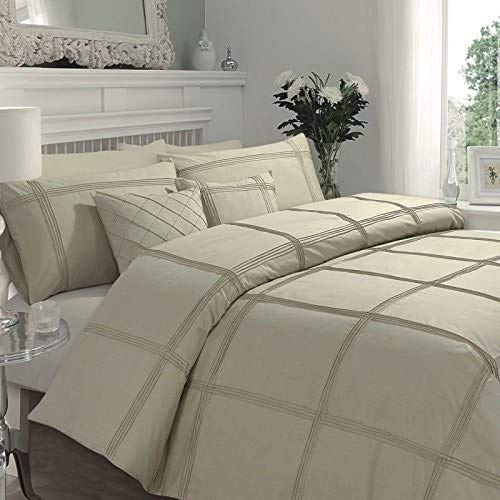 WOT Hamlet Duvet Cover Set With 2 Pillow Cases Modern Bedding Set ((Double, Latte)