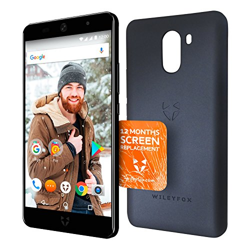 """WileyFox Swift 2 Plus - Smartphone con pantalla de 5"""" (memoria interna de 32 GB, cámara foto de 16 MP, Android) color negro + funda + 12 meses de protección de pantalla"""