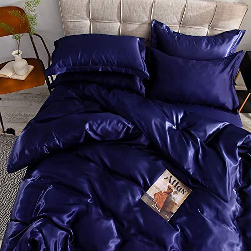 Funda de edredón de seda de hielo de doble cara de verano de cuatro piezas, sábanas simples de seda desnuda para dormir, ropa de cama Tencel azul oscuro 220x240cm [funda de edredón individual]