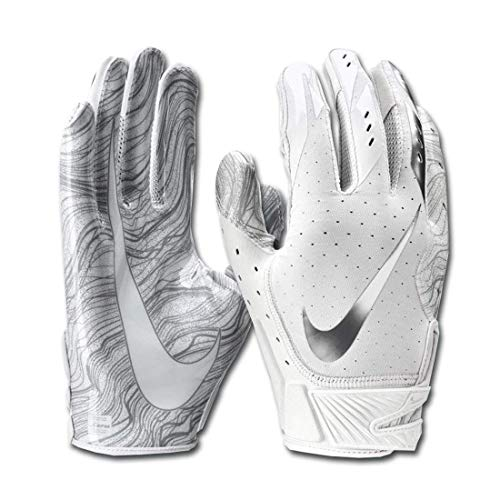Men's Nike Vapor Jet 5.0 Football Gloves White/Chrome Size Medium