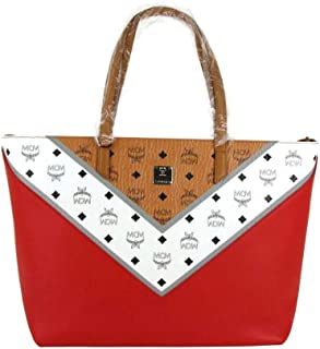 MCM Women's Red/Brown Leather Coated Canvas Medium Zip Shopper Tote MWP9SCV10CD001