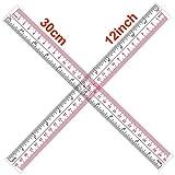 2 reglas de 30 cm, dos escalas en cm y pulgadas, regla de plástico para escuela y oficina, transparente.