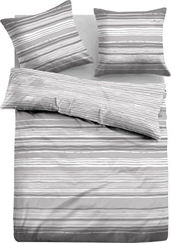 TOM TAILOR 0009797 Flanell Bettwäsche Garnitur mit Kopfkissenbezug (Baumwolle) 1x 155x220 cm + 1x 80x80 cm, grau