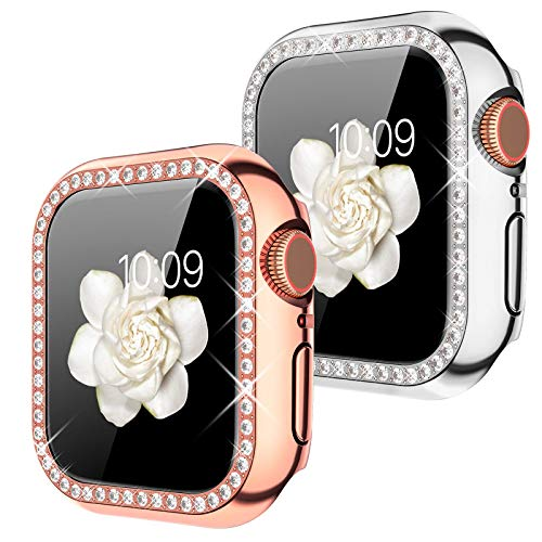 Goton Compatible for Apple Watch Case 38mm, (2 Packs) Women Girls Bling Crystal Diamond Watch Full Cover Screen Protective Bumper Case for iWatch Series 3 / Series 2 / Series 1 (Silver+RoseGold, 38mm)