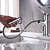 LAZHOME Bathroom Sink Faucet with Pull Out Sprayer, Three Water Flow Modes Bath Faucet, Pull Out Lavatory Basin Faucet Bar Sink Faucets with Rotating Spout (Regular, Chrome)