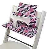 BambiniWelt - Cojín de asiento para trona Stokke Tripp Trapp, en 20colores, asiento de 2piezas, funda de repuesto rosa Streifen Pinke kl. Blumen