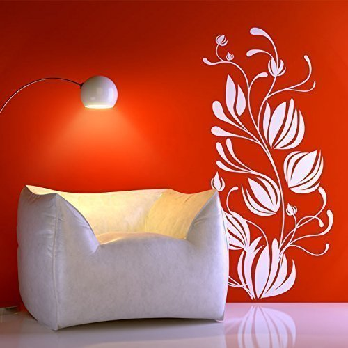 Grandora w5403 Sticker Mural Plant sarments de Fleurs - Herbe Verte, (BxH) 47 x 90 cm