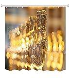 A.Monamour Champagne Color Bokeh Luz Fondos Tela Textil Poliéster Largo Espesar Ducha Cortina para Decoración Baño 150X180 Cm / 60'X72