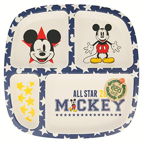 PLATO BAMBU DIVIDIDO MICKEY MOUSE - DISNEY - ALL STAR
