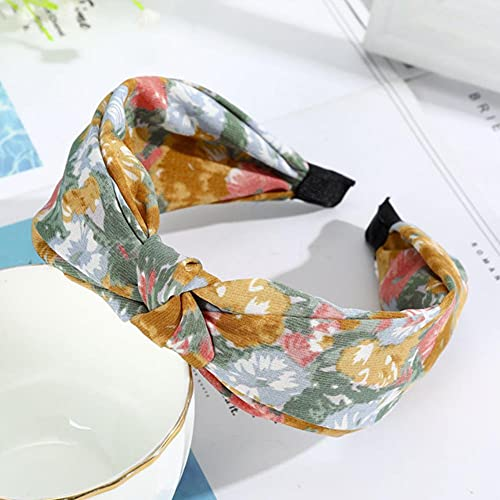 UKKO Tocados de Pelo Pleats De Impresión Floral Diezera Bisel Turban Elastic Scrunchies para Mujeres Bow Band Girls