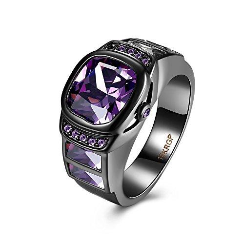 QIANDI Purple Crystal Black Round Agate Gem Finger Ring Similar Watch Women Rings