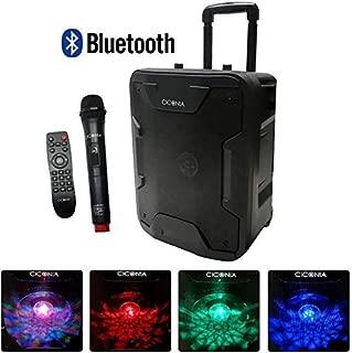 iimono117 マイク付き Bluetooth対応スピーカー LEDディスコライト搭載 / ハンドル&車輪付き マイク付きスピーカー 会議 イベント セミナー カラオケ大会 路上ライブ