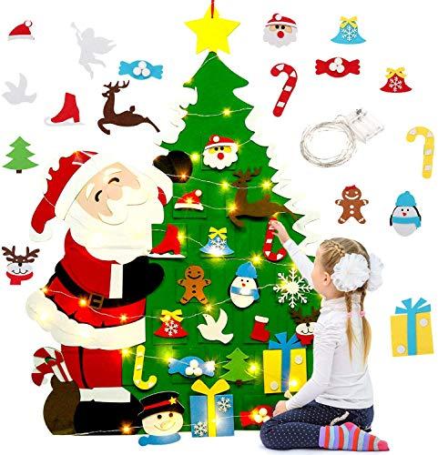 belupai Filz Weihnachtsbaum DIY Weihnachtsbaum mit LED Lichterkette Wanddekoration mit 21 abnehmbaren Ornamenten
