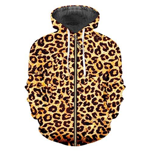 Sudaderas con Cremallera Sudaderas con Capucha 3D Animales Delgadas Ropa Calle con Estampado Leopardo Leopard Zip L