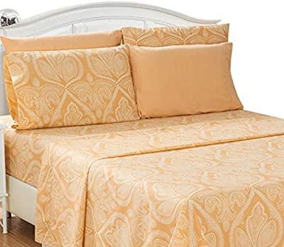 Lux Decor Collection Bed Sheet Set - Brushed Microfiber 1800 Thread Count Bedding - Wrinkle, Stain & Fade Resistant - Deep Pocket King Size Sheets Set - 6 PC (King, Paisley Taupe)