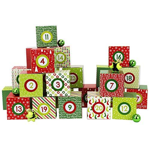 Set de boîtes Calendrier de l'Avent DIY – 24 boîtes colorées à Poser et remplir – 24 boîtes - Rouge-Vert