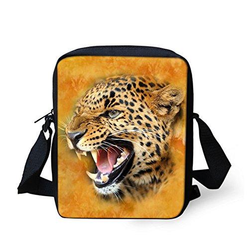 Nopersonality Cool Printing Animal Kinder Messenger Bag Portable Wallet, Braun - leopard - Größe: Small