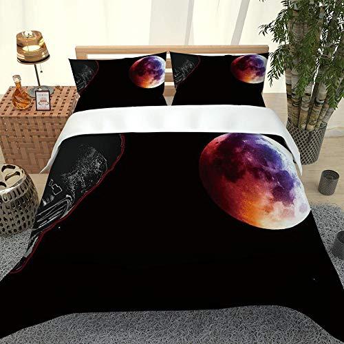 ZHIYYQ Juego de ropa de cama de tres piezas más funda de edredón doble de microfibra con impresión digital 3D gruesa, calidez suave, regalo negro, 220 x 240 cm