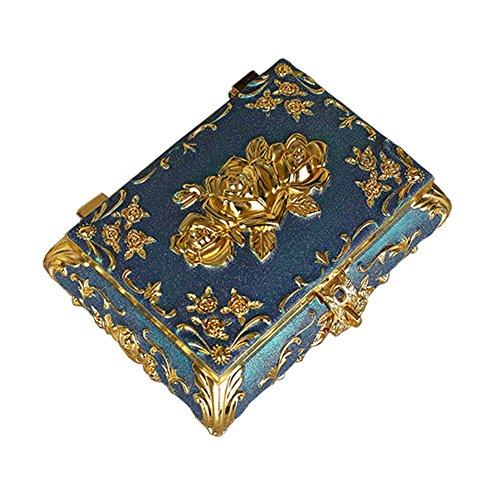 Grande Porte-bijoux Ornement bleu avec miroir Coffret ?bijoux