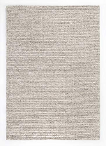 Barbara Becker Handwebteppich aus Wolle und Viskose, Webteppich für Wohnzimmer, Esszimmer, Schlafzimmer, Farbe:Beige, Größe:140 x 200 cm