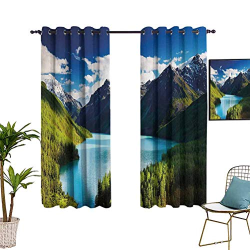 Nature Thermal&Extra Wide curtains Mountain Range and Lake with Idyllic Pine Forest Cloud Sky Calm Landscape Grommet Top Window Treatment Drapes for Kid's Bedroom 42'x63' Blue Olive Green Grey