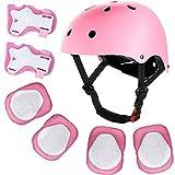 Casco para niños, equipo de protección, juego de cascos para bicicleta y monopatín, juego de protectores para multideporte, bicicleta, escalada, patinete, monopatín, 3 – 13 años de edad (rosa)