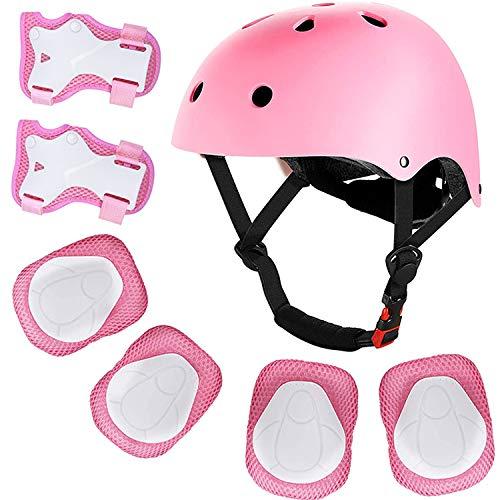Meowtutu Casco Bici per Bambini Regolabile Casco Bicicletta, Casco Protettivo Ideale per Bambini 3-13 Anni, Set di Equipaggiamento Protettivo Casco (Rosa)