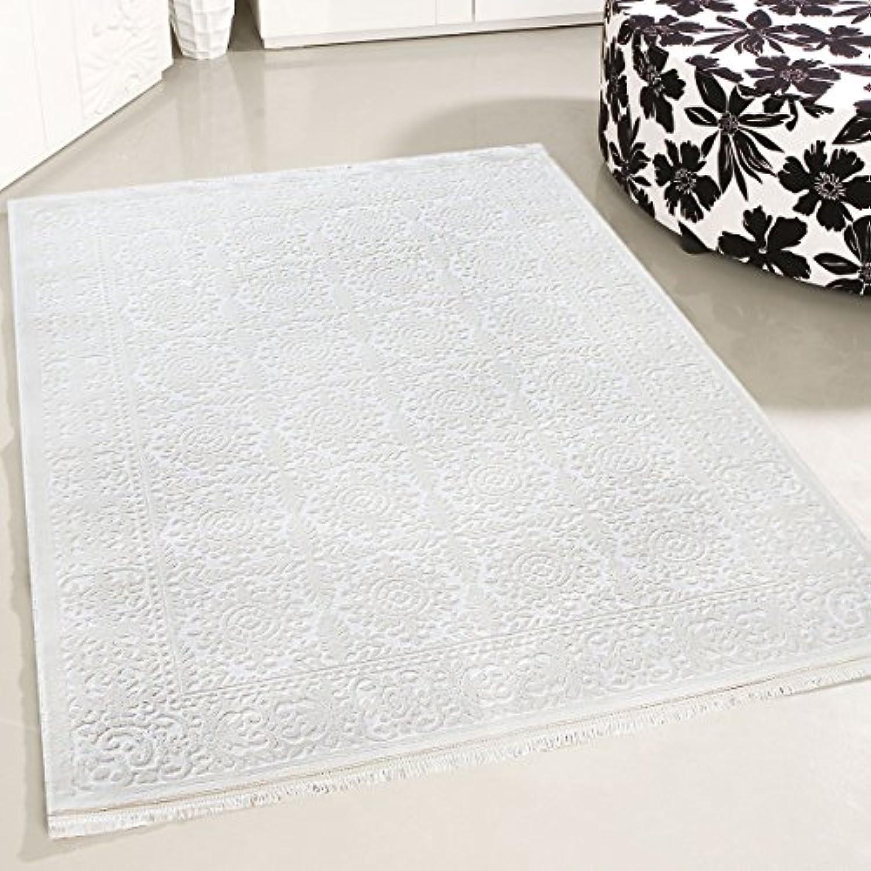 Mynes Home Teppich Gemustert Modern Designer Vintage in Creme Wei Wohnzimmer Teppiche hochwertig und luxuris Kurzflor mit 3D Optik (200 x 290 cm)