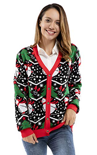 U LOOK UGLY TODAY Suéter de Navidad con luces LED intermitentes para hombre, divertido Papá Noel, reno, elfo de Navidad
