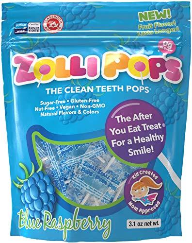 Zollipops Clean Teeth Lollipops, Blue Raspberry, 3.1 Ounce (Pack of 1)