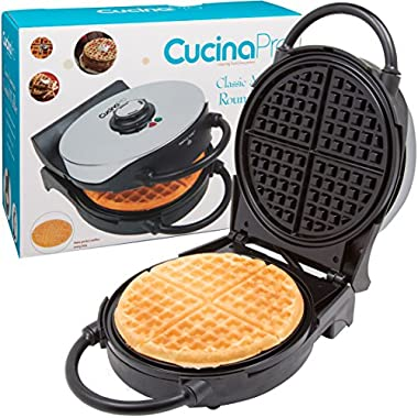 Waffle Maker- Non-stick American Waffler Iron with Adjustable Browning Control- Beeps When Ready