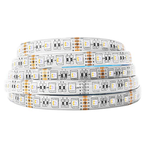BTF-LIGHTING 5050 RGBW RGB+Warmweiß (2700K-3000K) 4 Farben in 1 LED 5m 60LEDs/m Mehrfarbiges LED-Leuchtband IP65...