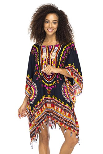 Back From Bali Womens Swimsuit Beach Cover Up Short Ethnic Poncho Sequins Black