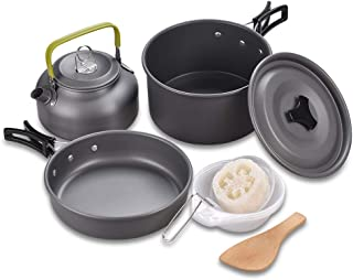 Liange outdoors Camping Cookware Nonstick Lightweight, Compact, Durable Pot Pan Bowls Hiking, Picnic