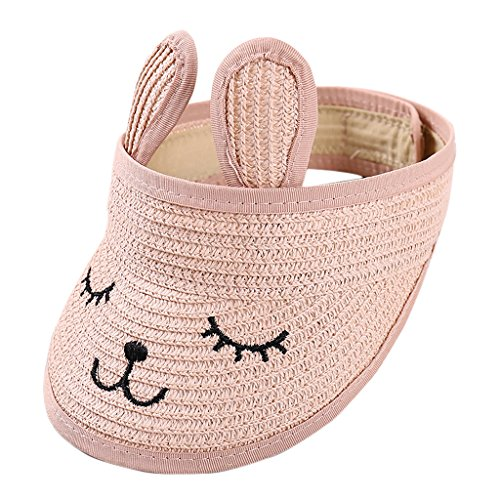 HSRG Hats Strohhut Jungen Und Mädchen Klappstickerei Kaninchen Ohren Babymütze Outdoor-Mode Schatten Leeren Oberen Kappe,Pink