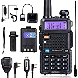 TIDRADIO UV-5R Ham Radio Handheld Walkie Talkie with Double Battery Earpiece Hand Mic and Programming Cable Full Kit (A Set of 1 Pack)