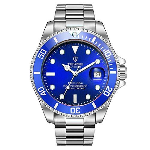 TEVISE T801 Hombres Reloj mecánico automático Reloj de Pulsera Luminoso de Moda 30M Diario Banda de Acero Reloj Deportivo Masculino Kaemma(Color:Silver Band & Blue Dial)